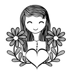 happy woman with flowers branches and heart vector image
