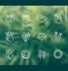 harvest farming linear icons vector image