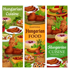 Hungary cuisine hungarian food banners set vector