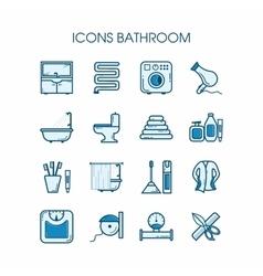 Icons bathroom set vector image