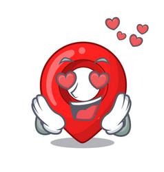 in love map pointer navigation pin mascot cartoon vector image