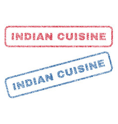 Indian cuisine textile stamps vector