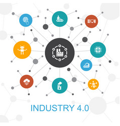 Industry 40 trendy web concept with icons vector