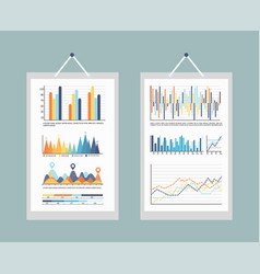 infographic business charts and graphs with info vector image