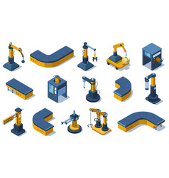 Isometric industry technologies robot arms vector