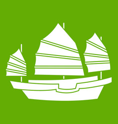 Junk boat icon green vector