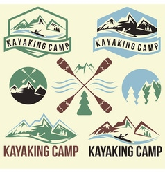 kayaking camp vintage labels set vector image
