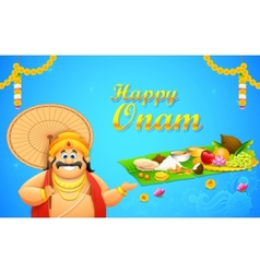 King Mahabali in Onam background vector image