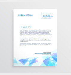 Letterhead design with abstract blue triangle vector