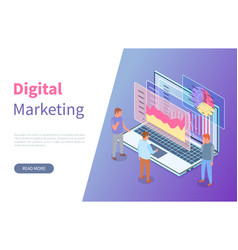 marketing site template men study graphs charts vector image