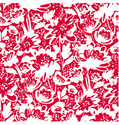 One-color hand drawn floral seamless pattern vector