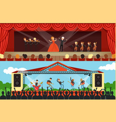 opera singers and rock band performing on stage in vector image