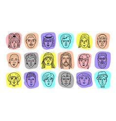 people avatars funny faces of men and vector image