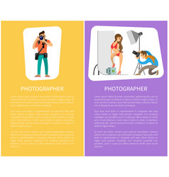 photographer making photo session girl in bikini vector image