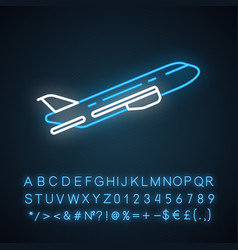 Plane flying up neon light icon vector