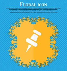 push pin icon Floral flat design on a blue vector image