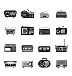 radio music old device icons set simple style vector image