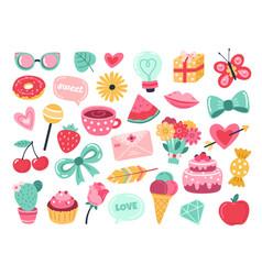 romantic planner stickers love elements hand vector image