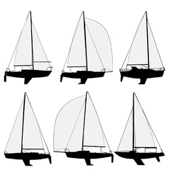 Sail boat silhouettes vector