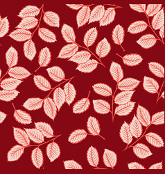 seamless pattern with cute leaves vector image