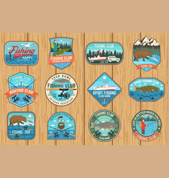 Set fishing patch concept for shirt or vector