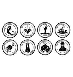 Set halloween stamp postal icon pumpkin hand vector