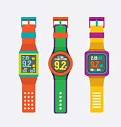 Set Of Colorful Sport Watches vector image