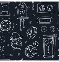Set of doodle sketch clocks and watches vector image