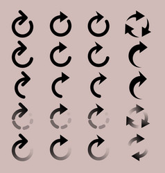 set of rounded arrow simple icons vector image