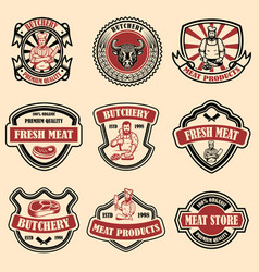 set of vintage meat store labels design element vector image