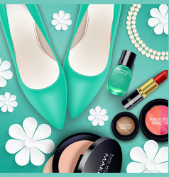 sets of cosmetics on green background vector image
