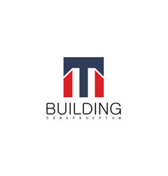 square letter m building construction logo vector image