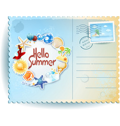 Summer postcard with colorful icons and message vector