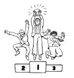 Three happy businessmen jumping on the winning vector