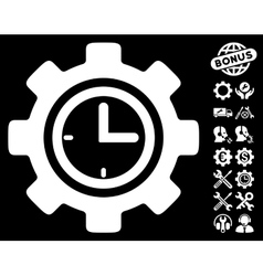 Time Setup Gear Icon with Tools Bonus vector