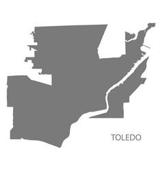 toledo ohio city map grey silhouette shape vector image