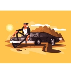 Tough man near car vector image