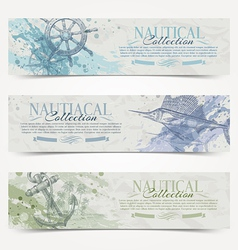 Travel and Nautical vintage hand drawn banners vector image