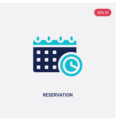 Two color reservation icon from hotel and vector