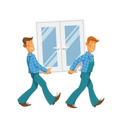 Two mans carry window vector image