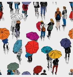 urban dwellersin the rain vector image