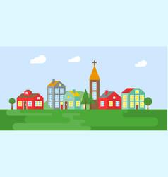 urban landscape village in summer flat design vector image