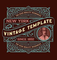 vintage label with getleman element vector image