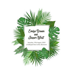 Watercolor frame of colorful tropical leaves vector