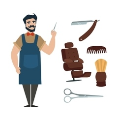 WebCartoon Professional Barber with Tools vector