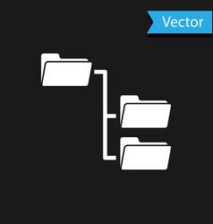 white folder tree icon isolated on black vector image