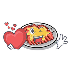 With heart carpaccio isolated with in mascot vector