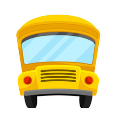 Yellow school bus of front projection with curved vector