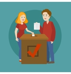 Young family voting in elections cartoon vector image