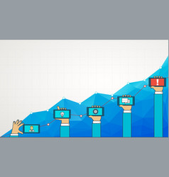 blue business chart graph with line of increase vector image vector image